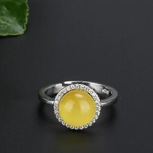 戴和美 精选天然琥珀蜜蜡S925银镶嵌蜜蜡围钻戒指(附鉴定证书)
