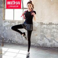 翎影时尚  2016夏季运动裤假两件弹力紧身健身套装女速干跑步瑜伽服休闲