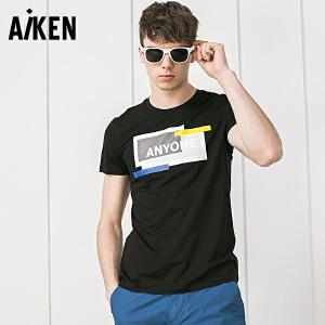 Aiken短袖T恤男士2017夏装新款印花半袖上衣青年体恤衫字母衣服潮
