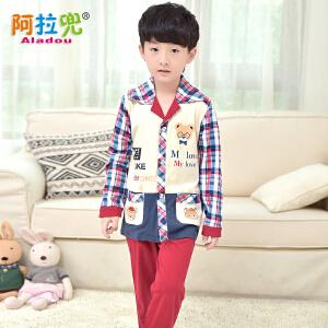 阿拉兜春季纯棉儿童睡衣大童男孩家居服套装男童宝宝长袖卡通睡衣 15136