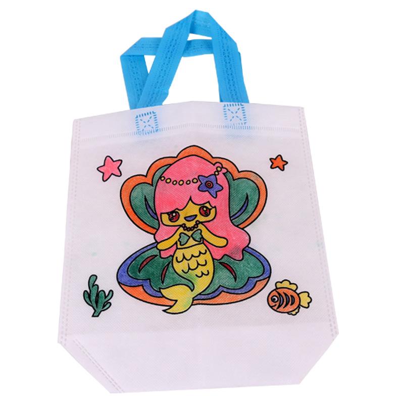 儿童空白手绘diy无纺布涂鸦包环保手提袋幼儿园手工制作材料包