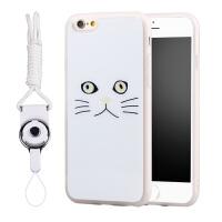 黑白猫iPhone6s手机壳创意硅胶防摔苹果6plus软保护套5S挂绳卡通