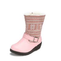 鞋柜SHOEBOX冬款女童粉色简约拼接靓丽靴子