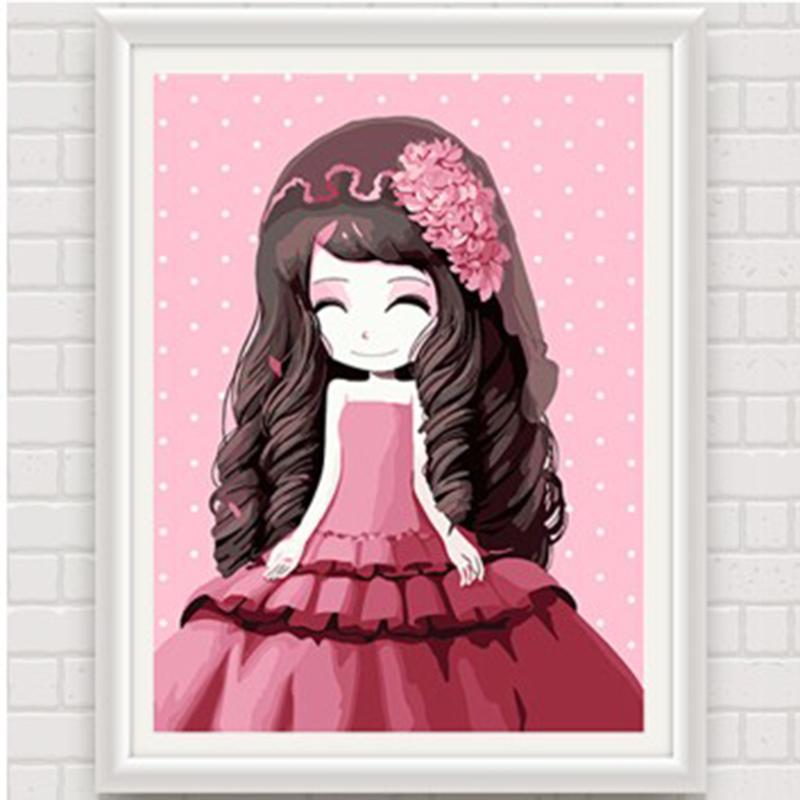 数字油画 动漫卡通人物少女手绘装饰画 儿童可爱卧室 花花姑娘_风信子