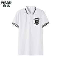 森马短袖T恤 夏装 男士休闲运动字母条纹直筒Polo衫韩版