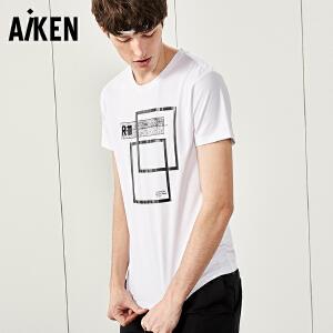 Aiken短袖T恤男士2017夏装新款圆领百搭潮牌半袖体恤几何印花上衣