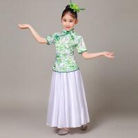 儿童演出服连衣裙舞蹈服装女童民族青花瓷现代舞长裙古典表演服夏
