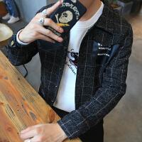 夹克外套男 秋冬装英伦格子毛呢夹克男士外套子韩版青年修身男装