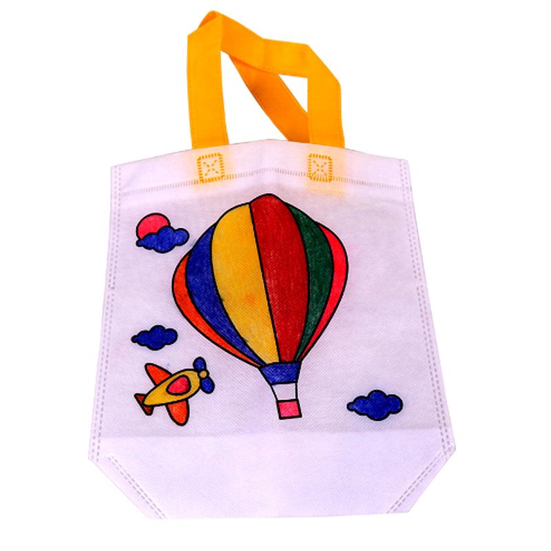 儿童空白手绘diy无纺布涂鸦包环保手提袋幼儿园手工制作材料包_热气球