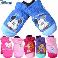 冬季迪士尼儿童手套 米奇白雪公主男女童加绒加厚保暖手套宝宝手套幼儿手套 女童防风防水滑雪手套