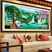 迎客松3D十字绣新款客厅风景山水画系列印花流水生财