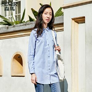 森马长袖衬衫 2017春装新款 女士韩版方领波点印花绣花中长款衬衣