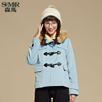 森马毛呢外套 冬装 女士连帽呢大衣休闲纯色直筒外套韩版