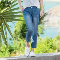森马水洗牛仔裤 夏装 女士中低腰直筒七分裤牛仔中裤韩版