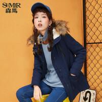森马棉服 冬装 女士可拆卸毛领连帽收腰中长款棉衣外套潮