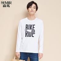 森马长袖T恤 冬装新款 男士简约个性圆领趣味字母印花韩版潮