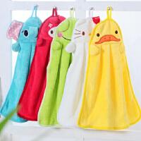 卡通加厚珊瑚绒擦手巾 厨房浴室强吸水挂式搽手巾厨房抹布洗碗布毛巾 -红色悠游兔