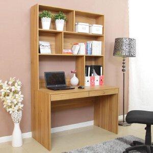 美达斯 书柜书桌组合 简约书桌柜连体套装 学习书架办公桌电脑桌 置物收纳架子