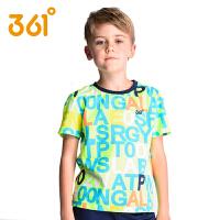 361度童装夏季新款男童短袖T恤中大童学生纯棉字母印花儿童上衣
