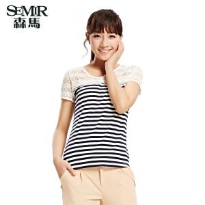 森马2015夏装新款短袖T恤韩版女装圆领横条纹T恤蕾丝拼接T恤 女99
