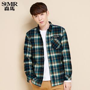 森马长袖衬衫 冬装 男士方领格纹加绒休闲保暖衬衣韩版潮