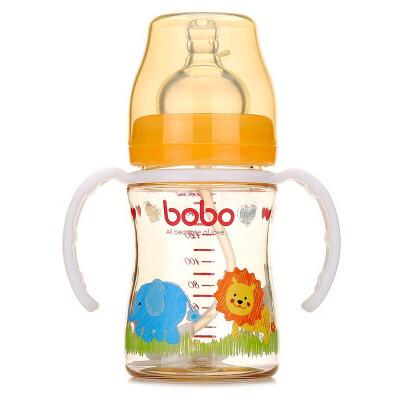 【当当自营】乐儿宝(bobo) PPSU自动宽口奶瓶160ml 变流量 带手柄吸管 橙色BP631B-O随机