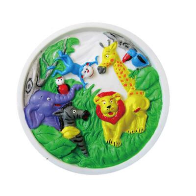 diy手工上色石膏画像 填色石膏像 涂色圆盘石膏像 动物款 一个
