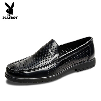 花花公子夏季正装休闲皮鞋牛皮洞洞鞋套脚低帮鞋男士凉鞋