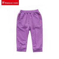 探路者童装儿童休闲裤子 女童短裤罗纹收口针织七分裤
