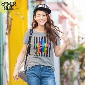森马短袖T恤 夏装 女士条纹星星字母印花t恤休闲短T韩版