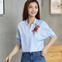 衬衫女长袖修身打底衫2017新款女装韩版宽松刺绣上衣