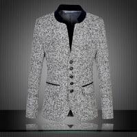 秋冬新款韩版立领男装西装时尚修身男士西服潮流大码