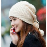 韩版 潮可爱韩国 毛线帽兔毛护耳针织帽 贝雷帽 秋冬季帽子 女