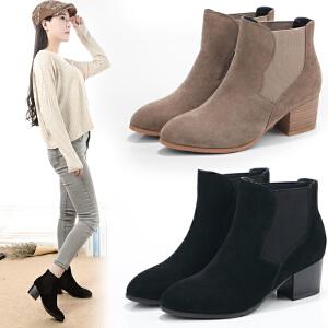 ZHR冬季清仓粗跟真皮马丁靴女韩版尖头短靴学生中跟靴子女靴W33