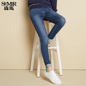 森马牛仔裤 秋装 女士中低腰修身小脚ISKO高弹牛仔长裤潮