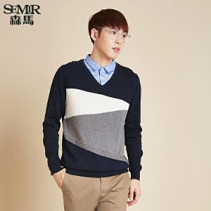 森马针织衫 秋装时尚 男士套头V领假两件线衫韩版潮男装青年