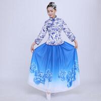 青花瓷合唱服古典舞蹈服装新款舞台演出服女民乐古筝演奏长裙