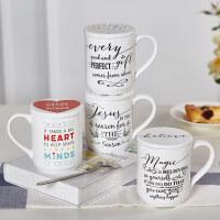 爱屋格林evergreen 创意欧式陶瓷马克杯简约大容量咖啡杯水杯 配杯垫套装