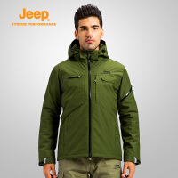Jeep/吉普秋冬新款连帽夹克男大码纯色户外宽松滑雪服J652010680