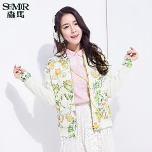 森马短外套 春装 女士立领花卉印花夹克拼接韩版休闲外套