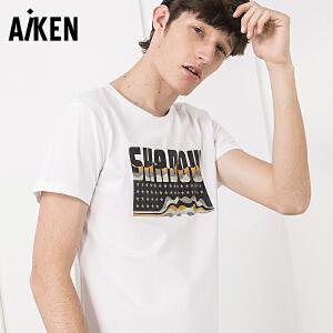 Aiken短袖T恤男2017夏装新款圆领半袖潮男士体恤字母印花学生上衣
