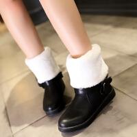 彼艾2016冬季新品少女中小学生女童平底雪地靴花朵粉色红平跟毛毛靴孕妇女靴子