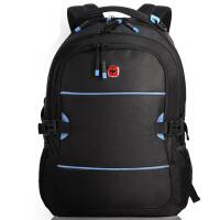 瑞士军刀电脑包双肩背包 男女15.6寸书包(黑色)