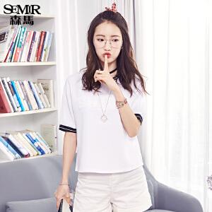 森马短袖衬衫女2017夏装新款圆领雪纺韩版宽松学生运动风半袖衬衣