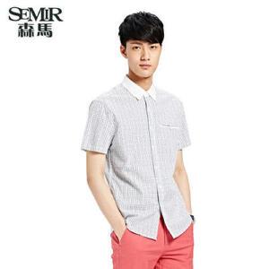 森马夏装新款短袖衬衫 男士韩版休闲衬衫撞色细格潮流衬衣男