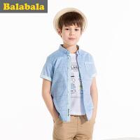 巴拉巴拉男童衬衫短袖男中大童上衣童装夏装儿童学生衬衣