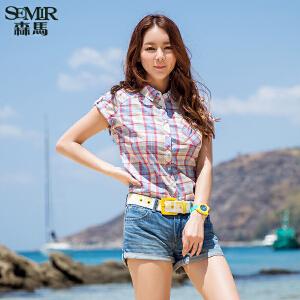 森马短袖衬衫夏装女士韩范小清新学院风格子纯棉衬衣女