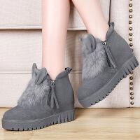莫蕾蔻蕾 2016冬季新款加绒靴子高跟韩版短靴侧拉链内增高雪地靴潮 6D631