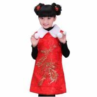 户外贺岁喜庆儿童唐装女童旗袍过年装之凤穿牡丹 棉服