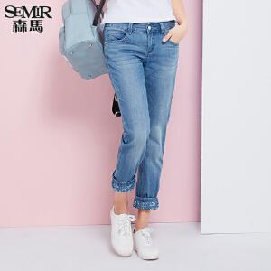 森马牛仔裤 夏装 女士中低腰显瘦小直筒牛仔长裤子韩版潮
